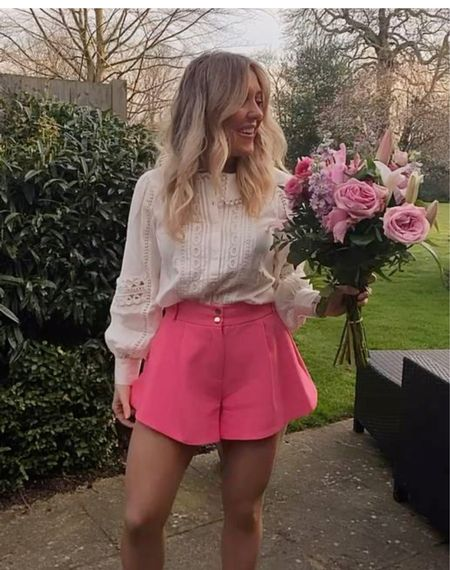 Pink structured shorts - pink shorts - tailored shorts - tailoring - smart casual - occasionwear - work wear - work outfit - office clothes - office outfit - white blouse - white shirt - lace blouse - long sleeve shirt - Riverisland - asos - structured shorts - wedding guest - wedding party - summer outfit - neon skirt   #LTKDay #LTKunder50 #LTKstyletip