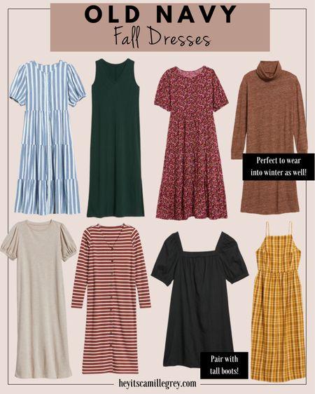 Old Navy fall dresses! Sweater dress, striped cardigan dress, mustard plaid, floral, blue and white striped  I get my normal size in Old Navy dresses!   #LTKSeasonal #LTKunder100 #LTKunder50