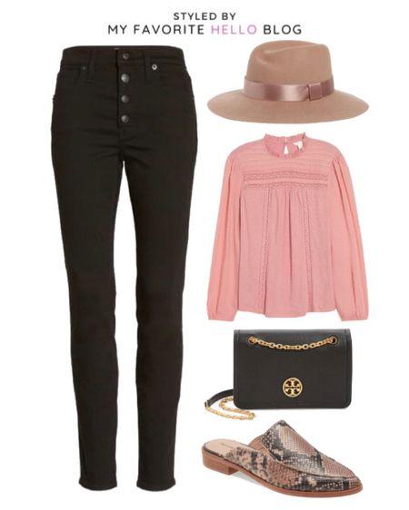 Nordstrom anniversary sale high waist black jeans with pink boho top and felt hat. Animal print mules. Fall outfit. #liketkit @liketoknow.it http://liketk.it/2UHjr #ltkfall #nsale #nordstrom   #LTKunder100 #LTKsalealert #LTKstyletip