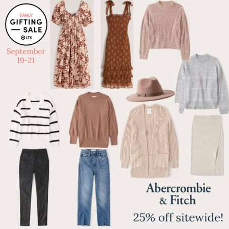 The LTK Early Gifting Sale ends tomorrow! All of your fall fashion favorites and bestsellers from Abercrombie & Fitch are on sale for 25% off through September 21st, only in the LTK app!  . Fall dress wedding guest dress sweater cardigan mom jeans coated jeans rubbed skirt fall hat felt hat   #LTKsalealert #LTKunder50 #LTKSale