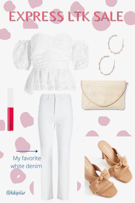 Copy the code to shop this Express outfit! // white denim // white outfit // summer outfit // neutral outfit   #LTKshoecrush #LTKDay #LTKbeauty  #LTKDay #LTKbeauty #LTKshoecrush