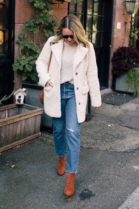 Teddy coat Sherpa coat Puff sleeve cashmere sweater Levi's jeans Fall outfit Cozy fall look J.Crew heeled booties Suede boots   #LTKsalealert #LTKSeasonal