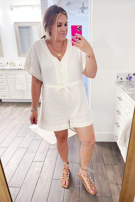 curvy white romper for summer! wearing the size xl http://liketk.it/3gzCK #liketkit @liketoknow.it #LTKcurves #LTKunder100 #LTKshoecrush