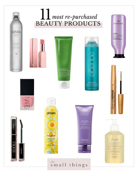 Most re-purchased beauty products! Hair products, volume, hairspray, body wash, mascara, texture spray, pink liquid blush, exfoliate, lipstick, brow serum, last serum, hair mask, conditioner   #LTKbeauty
