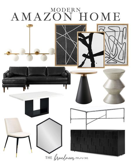 Modern Amazon Finds, Amazon home, Amazon Finds, Modern Furniture, Modern home, fall Decor, kitchen Lighting, Brass light, mid century modern, leather sofa, modern sofa, modern couch, side tables, Restoration Hardware Inspired, TV Console, media Console, black mirror, dining furniture, modern dining table, marble table, upholstered dining chairs, concrete furniture, wall art, modern wall art, black and white Decor,  #LTKSeasonal #LTKhome #LTKstyletip