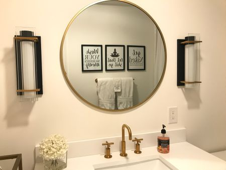 Bathroom inspiration, bathroom artwork, wall art, mirror, faucet, bathroom decor, sconces  You can instantly shop my looks by following me on the LIKEtoKNOW.it shopping app    #LTKbeauty #LTKhome #LTKstyletip