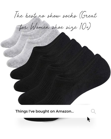 Unisex no shoe socks, great for women shoe sizes 10 and up! Non slip grip on heel, comes in multiples sizes and basic colors (white, gray, black or mixed packs)  Amazon Finds   #LTKunder50 #LTKstyletip #LTKcurves