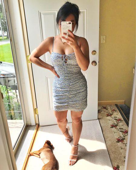 blue floral mini dress with adjustable straps, adjustable keyhole cutout and rouching throughout // super flattering!! http://liketk.it/3jImj #liketkit @liketoknow.it #LTKunder100 #LTKstyletip #LTKwedding