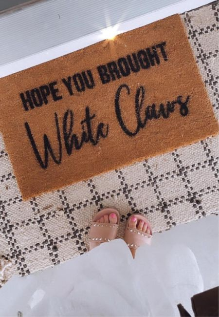 No truer words have ever been spoken! Love my friend Kayla at The Minted Grove, she sells affordable, funny, cool doormats! She can make custom ones for you too! ❤️   Check out her website, so many options ...and use code: MYCASUALMOM for 20% OFF anything! -https://themintedgrove.com  My cute pink slides, under $40 with those pretty gold studs, true to size. Free shipping when you log into your account  Xo, Brooke  #LTKstyletip #LTKshoecrush #LTKsalealert