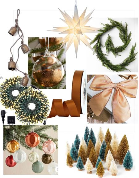 """Copper tones and blush hues for Christmas decor! Hey am early start on this years look!  Copper and blush Christmas ribbon 14"""" Bethlehem star tree topper  Best faux cedar garland! Sells out every year.  Twinkle lights- sell out every year too!  Bottle brush trees set of 15 under $15 Clear glass tree ornaments with painted copper bottoms Muted Color glass ornaments (set) Christmas tree  #LTKSeasonal #LTKhome #LTKHoliday"""