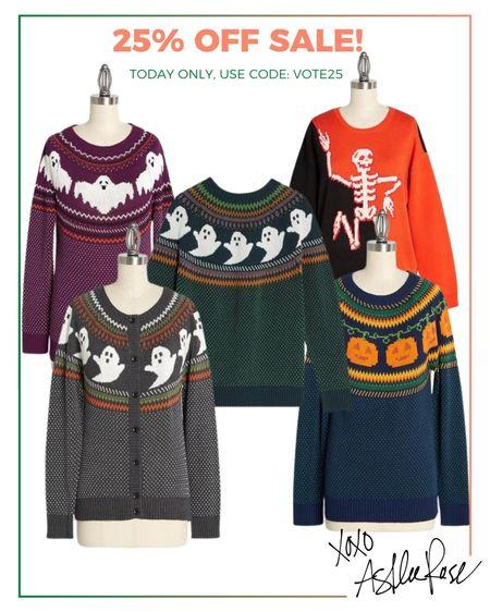ModCloth sale! Halloween sweaters and cardigans, spooky ghosts pumpkins skeletons  #LTKsalealert #LTKunder100 #LTKstyletip
