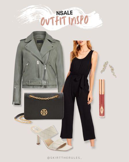 Nordstrom Anniversary Sale, NSale, Nordstrom sale: sage green moto jacket, black jumpsuit, Tory Burch black crossbody bag, dark pink lipgloss, pave ear crawlers, white mule heels. @liketoknow.it http://liketk.it/3jP5l #liketkit #LTKunder100 #LTKstyletip #LTKsalealert
