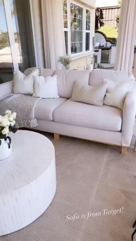 Target sofa, target home decor, outdoor living space, this living area is completely covered, sale, neutral home decor, simple home decor, StylinByAylinHome  #LTKhome #LTKunder100 #LTKstyletip