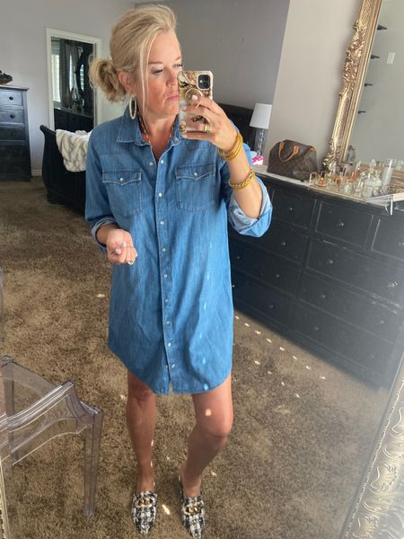 Easy warm weather Gall look🍁🍂 Shirt dress style✔️ . Easy and affordable outfit to wear Spring to Fall✔️✔️ . .   #LTKSeasonal #LTKstyletip #LTKunder100