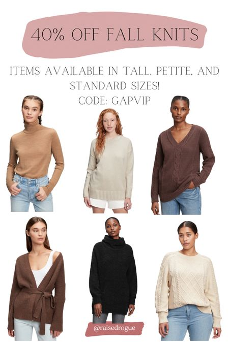 Get 40% off knits in the US with code: GAPVIP  Tops are available in tall, petite, and standard sizes!     #LTKSeasonal #LTKsalealert #LTKunder50