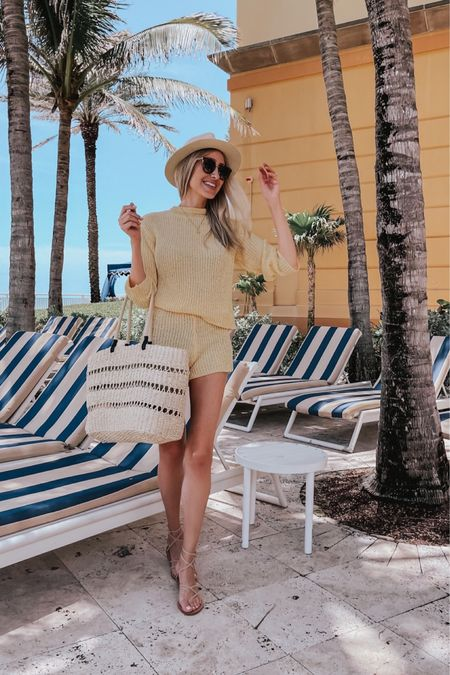Yellow knit set, beach set, revolve finds , Target finds , beach bag , beach vacation, straw hat, straw bag, summer outfit   #LTKswim #LTKtravel #LTKstyletip