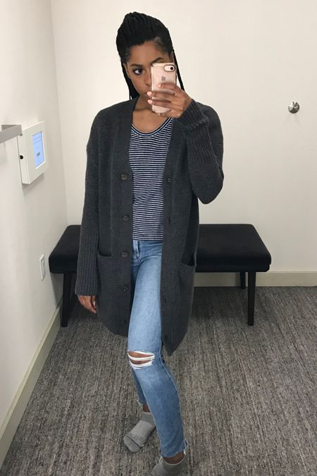 Another outfit all with items from the N Sale!   I threw on this charcoal grey longline cardigan with these ripped knee Paige skinny jeans and a navy blue striped shirt from Madewell. Get the whole look at Nordstrom!    #LTKunder100 #LTKworkwear #LTKstyletip