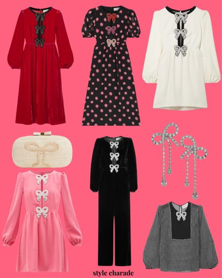 Holiday dresses, holiday outfit ideas, holiday looks, bow dresses, bow earrings  #LTKGiftGuide #LTKHoliday #LTKunder100