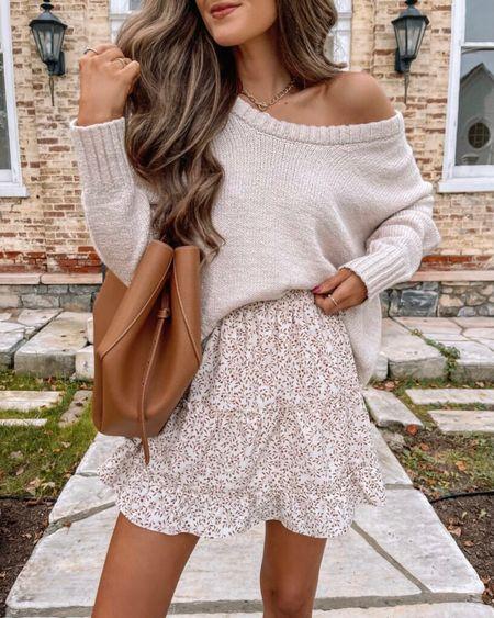 The Becca Floral Skater Skirt Brown  XS, TTS, cmcoving, Caitlin Covington, Pink Lily Collection, fall fashion, use code CAITLIN20 for 20% off!   #LTKSeasonal #LTKunder50 #LTKsalealert