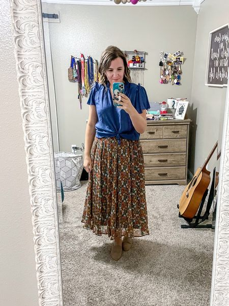 So many ways to wear this floral midi skirt! It goes with blues, oranges, whites, browns and more!   #LTKSeasonal #LTKstyletip #LTKbacktoschool
