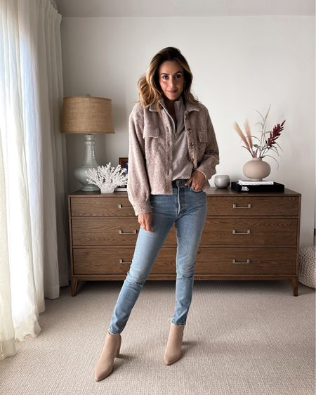 Cozy fall outfit idea EVEREVE half zip up pullover size small Z supply fuzzy cropped shacket xs - fits oversized Agolde Nico high waisted jeans size down Dolce vita blush suede booties - fall fashion   #LTKunder100 #LTKstyletip #LTKshoecrush