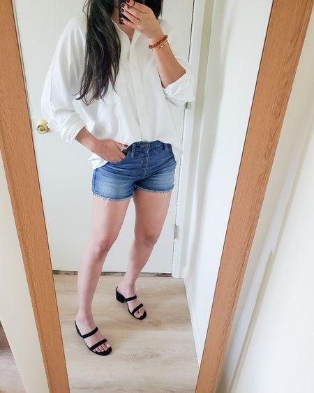 target style finds - white button down shirt, denim shorts, minimal black double strap sandals, summer outfit, back to school looks  #ltkunder25 #ltksalealert #ltkstyletip