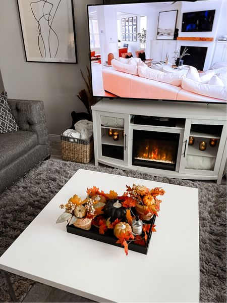 Fall living room decor, home decor, living room, coffee table, electric fireplace, Target, basket, living room decor  #LTKstyletip #LTKhome #LTKfamily
