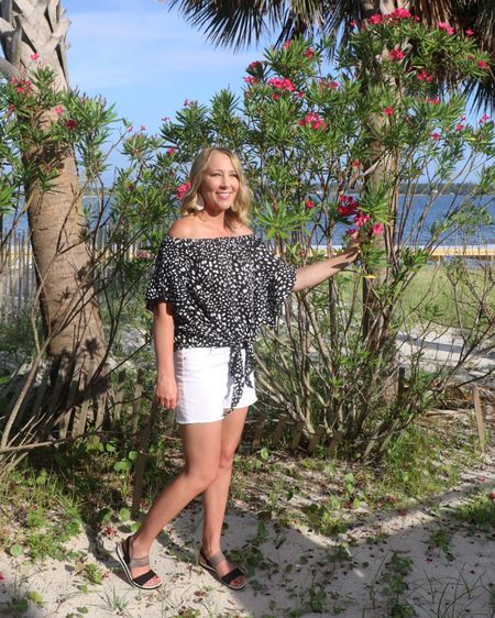 Amazon off shoulder top Target white shorts Summer outfit Beach outfit Date night outfit Budget outfit   #liketkit @liketoknow.it http://liketk.it/3jpzL #LTKstyletip #LTKunder50 #LTKunder100