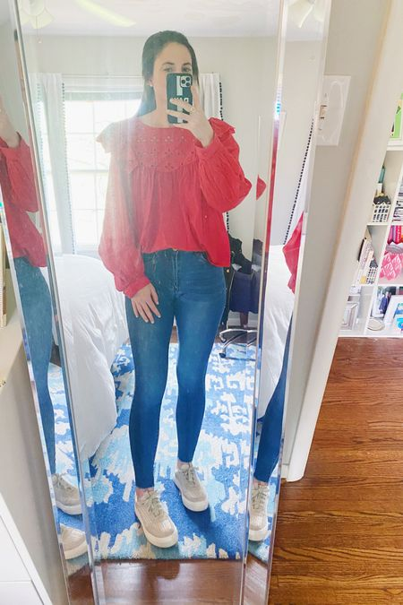 Thursday work outfit. This red long sleeve eyelet top was perfect for a bit of cooler weather! I've linked the red and another color on the @liketoknow.it app. #liketkit #LTKunder50 #LTKunder100 http://liketk.it/3d6aG