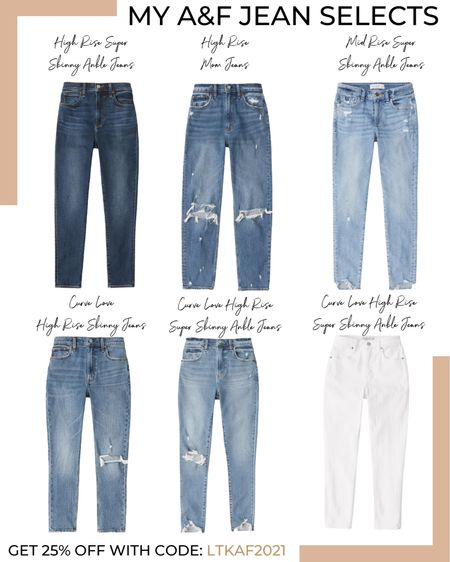 Last day to get 25% off Abercrombie! These are some of my jean selections. Use code: LTKAF2021 or copy code below 👇   #LTKfit #LTKSale #LTKsalealert