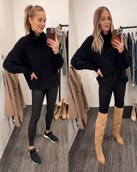 Two all black outfits from the #nsale with two of my favorite pairs of shoes! Love these black adidas sneakers (go down 1/2 size) and these tan OTK books! great staples for fall   #LTKstyletip #LTKunder100 #LTKunder50