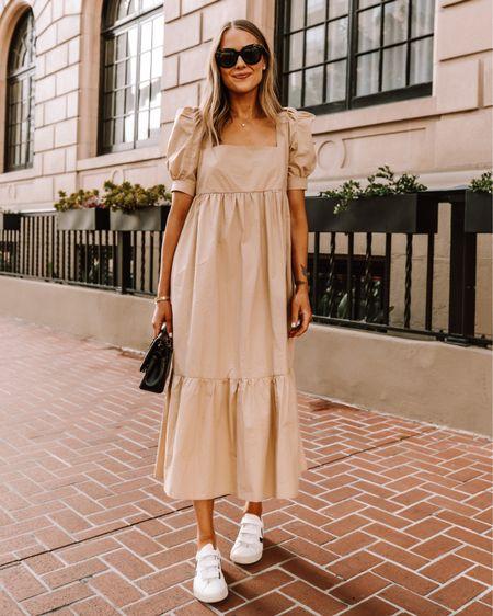 Beige summer dress (tts) Veja sneakers (size down) #summerdress #dresses #maxidress http://liketk.it/3htLm #liketkit @liketoknow.it #LTKstyletip #LTKunder100 #LTKshoecrush