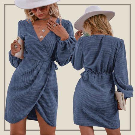 Wrap tie side corduroy dress  #LTKunder50 #LTKstyletip