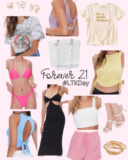Forever 21 LTK Day sale preview. SAVE your favorite items today and SHOP tomorrow 6/11 through 6/14. Summer style, summer outfit, graphic tee, sports bra, athleisure, bikini, cutout dress, crop top, lounge, tie top, jewelry. http://liketk.it/3hg6C @liketoknow.it #liketkit #LTKDay #LTKsalealert #LTKunder50 #LTKunder100 #LTKswim