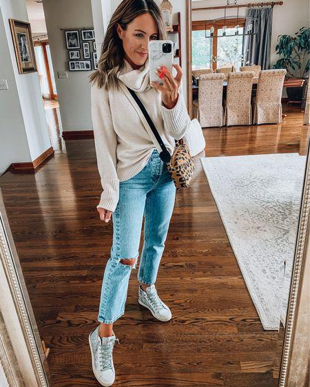 Sweater. Distressed jeans. P448 sneakers. Crossbody. @liketoknow.it @nordstrom http://liketk.it/2TZSk #liketkit #nsale #clarev #ltkshoecrush XS in sweater Go up 1 size in jeans Sneakers TTS