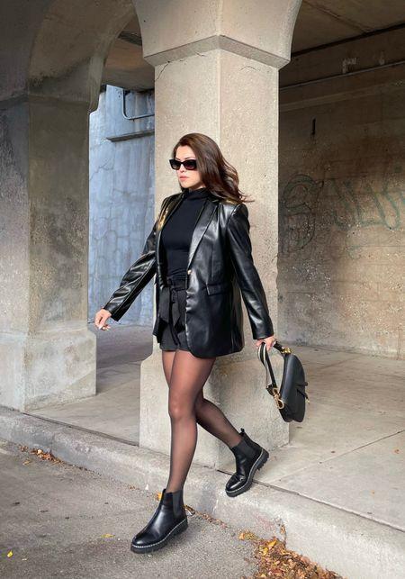 Leather blazer Chelsea boots  Fall fashion  #LTKstyletip #LTKshoecrush #LTKsalealert