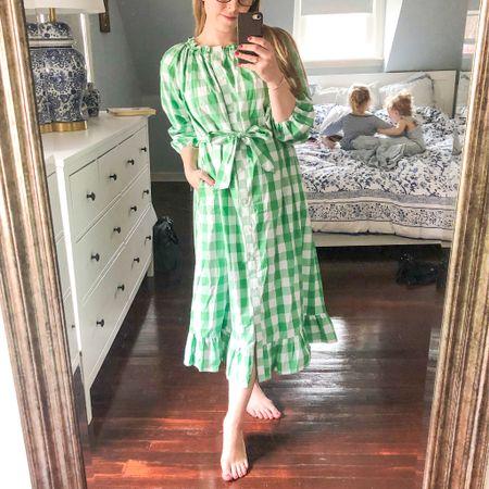 Green gingham dress perfect for spring and summer, and bump-friendly! @liketoknow.it http://liketk.it/3bWjT #liketkit #LTKbump #LTKSpringSale #LTKunder50