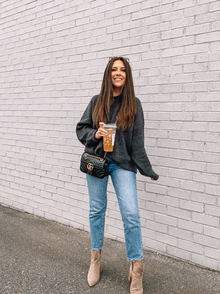 Cozy sweaters and Starbucks GTLs = a happy Carey!   Cyber Week is here and my outfit is part of the sale! My sweater is 40% off today and my jeans (they're old but I found the exact same style in a slightly different wash) are 30% — and these jeans hardly ever go on sale! Happy shopping 🥂  #LTKsalealert #LTKunder50 #LTKunder100