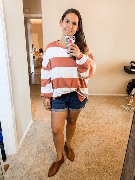 Striped oversized top, jean shorts  #LTKSeasonal #LTKstyletip #LTKunder50