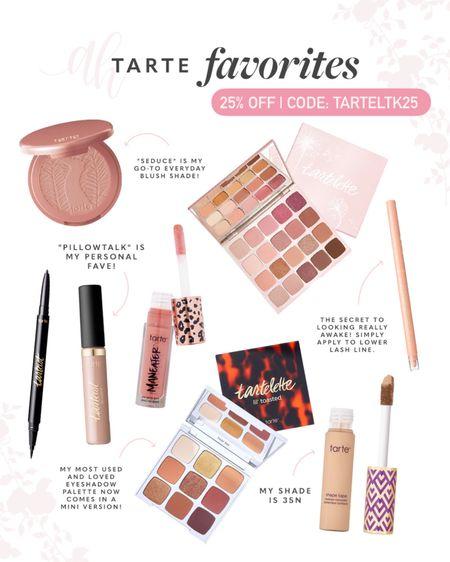 "favorites from Tarte are on sale for #LTKDay ! Blush: ""seduce"" | lip color: ""pillow talk"" | shape tape: 35N // http://liketk.it/3hkjB #liketkit @liketoknow.it #LTKbeauty #LTKsalealert"