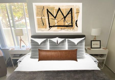Bachelor pad bedroom fall decor update.   Home decor, bedroom ideas, bedroom inspiration, bedroom decor, bedroom artwork, pillows, modern bedroom design   Follow me on LIKEtoKNOW.it   #LTKstyletip #LTKmens #LTKhome
