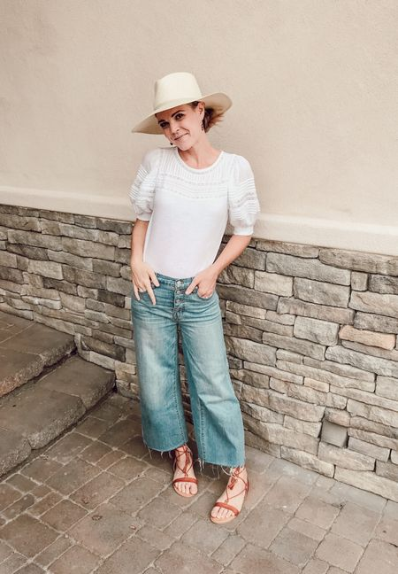 Puff sleeve top is currently 40% off with code SOGOOD, jeans are old but I've linked a similar style.
