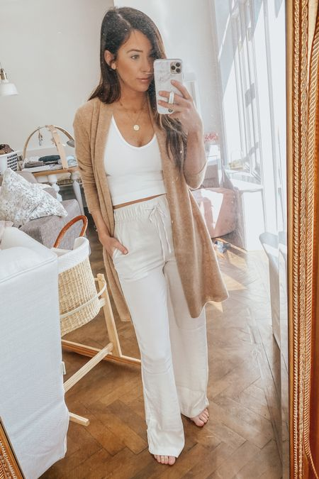 spring outfit, white tank, wide leg pants, high waisted pants 🤍🤍 http://liketk.it/3dDS7 #liketkit @liketoknow.it #LTKunder50