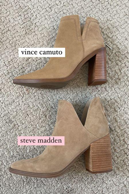 a comparison of the steve madden and vince camuto tan suede booties.   #LTKsalealert #LTKunder100 #LTKshoecrush