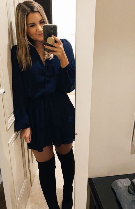 Navy dress on sale + over the knee boots!   #LTKunder100 #LTKSeasonal