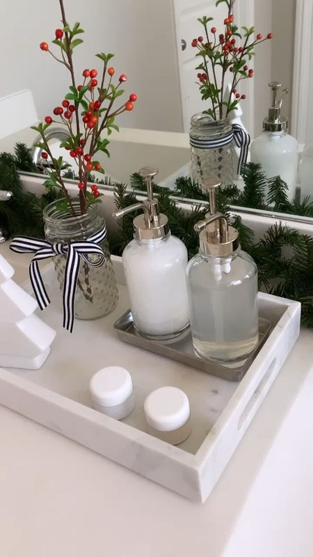 Holiday home decor from Target   Spruced up my bathroom counter with a marble tray, set of soap dispensers and added a ceramic Christmas tree, faux berry stem and Christmas garland.   A few inexpensive touches go a long way in making a space feel more festive.      Holiday decor , home decor , Christmas decor , bathroom decor , bathroom counter , target home , target Christmas , target finds , target style , marble tray , ceramic Christmas tree , soap dispensers, garland , Christmas garland    #LTKhome #LTKHoliday #LTKunder50