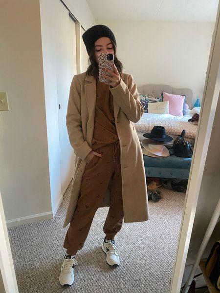 Coffee Coffee day Wool coat Camel coat Dad coat Beanie Sneakers Travel outfit  #LTKtravel #LTKstyletip