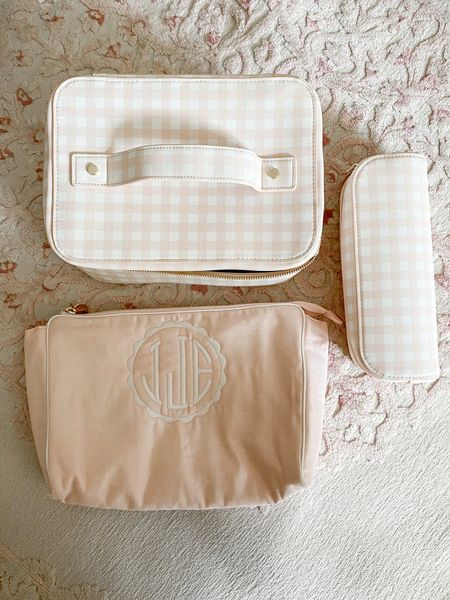 Couldn't resist this monogrammed bag for Josie and a new pink gingham and gold makeup case for travel.   #LTKtravel #LTKsalealert