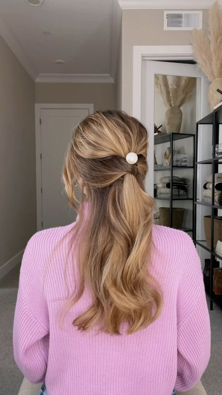 Half-back hair hack! Love this affordable pearl slide from Target. Such an easy way to elevate a simple hairstyle. Wearing size small in the sweater.  #LTKbeauty #LTKunder100 #LTKunder50