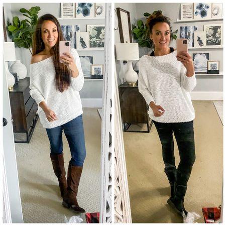 Size large in sweater Size 8 in jeans and jeggings  http://liketk.it/34byk #liketkit @liketoknow.it #LTKunder50 #LTKunder100 #LTKshoecrush